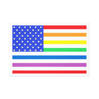 American Flag Rainbow Colors Stars & Stripes USA Canvas Print