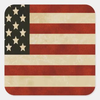 American Flag Red White and Blue Pride Square Sticker