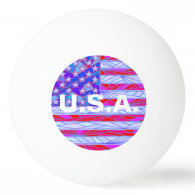 American Flag Red White And Blue USA Custom Ping-Pong Ball