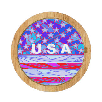 American Flag Red White And Blue USA Patriotic Round Cheeseboard