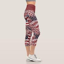 American Flag Red White Blue Stripes Stars Pattern Capri Leggings