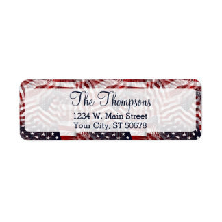 American Flag Red White Blue Stripes Stars Pattern Label