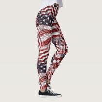 American Flag Red White Blue Stripes Stars Pattern Leggings