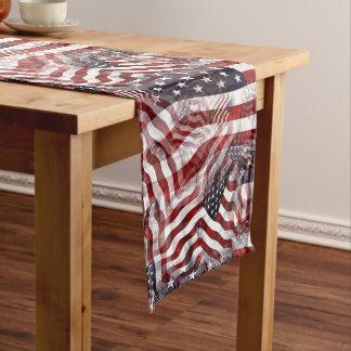American Flag Red White Blue Stripes Stars Pattern Long Table Runner