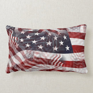 American Flag Red White Blue Stripes Stars Pattern Lumbar Pillow