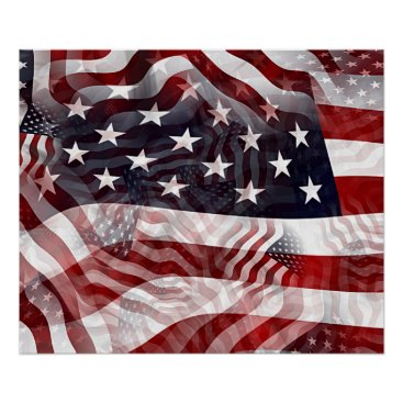 USA Themed American Flag Red White Blue Stripes Stars Pattern Poster