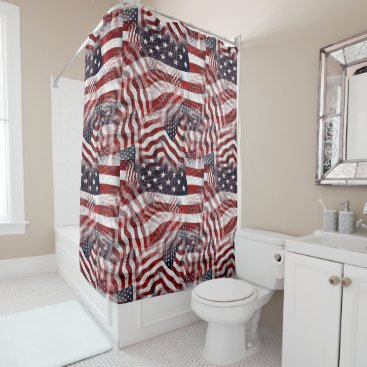 American Flag Red White Blue Stripes Stars Pattern Shower Curtain