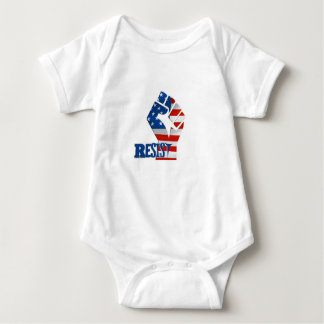 American Flag Resist Raised Fist Baby Bodysuit