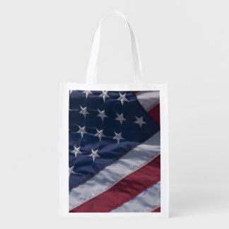 American flag. reusable grocery bag