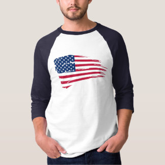 American Flag Rip Basic 3/4 Sleeve Raglan Shirt