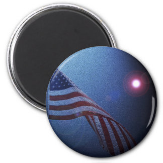 American Flag!  Rockets red glare! 2 Inch Round Magnet