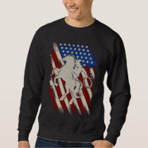 American Flag Rodeo Cowboy Western Horse Riding Sweatshirt