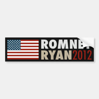 American Flag Romney-Ryan 2012 Bumper Sticker Blk Car Bumper Sticker