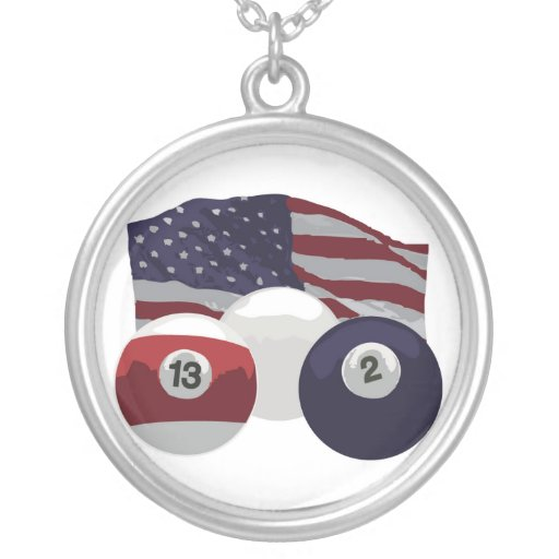 American Flag Round Pendant Necklace
