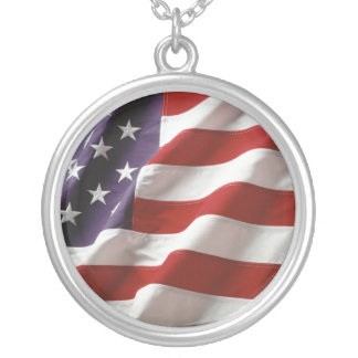 American_flag Round Pendant Necklace