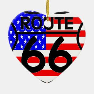 American Flag Route 66 Shield Stars & Stripes 2 Ceramic Ornament