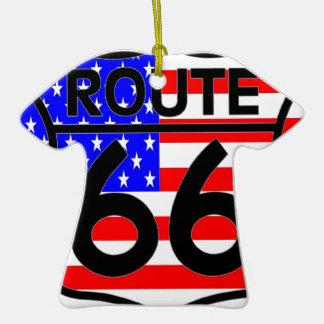American Flag Route 66 Shield Stars & Stripes 2 Ornament
