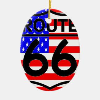 American Flag Route 66 Shield Stars & Stripes 2 Christmas Tree Ornaments