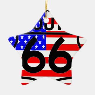 American Flag Route 66 Shield Stars & Stripes 2 Christmas Tree Ornament