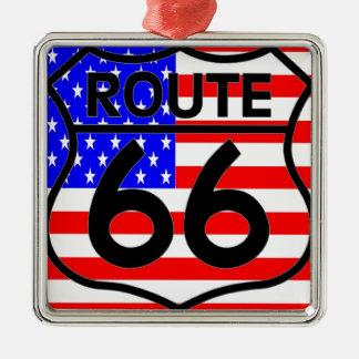 American Flag Route 66 Shield Stars & Stripes 2 Christmas Ornament