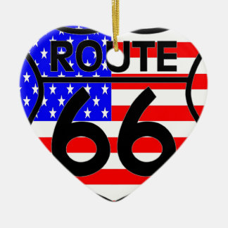 American Flag Route 66 Shield Stars & Stripes 2 Double-Sided Heart Ceramic Christmas Ornament