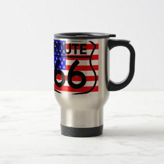 American Flag Route 66 Shield Stars & Stripes 2 Travel Mug