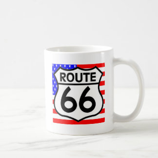 American Flag Route 66 Shield Stars & Stripes Coffee Mug