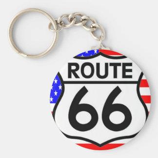 American Flag Route 66 Shield Stars & Stripes Keychain