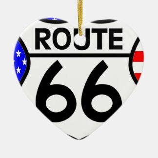 American Flag Route 66 Shield Stars & Stripes Christmas Ornaments