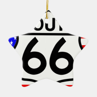 American Flag Route 66 Shield Stars & Stripes Christmas Tree Ornaments