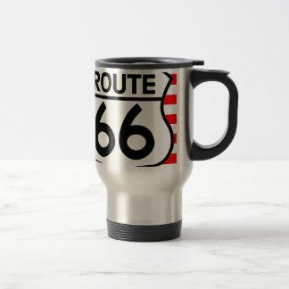 American Flag Route 66 Shield Stars & Stripes Travel Mug