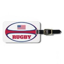American Flag Rugby Ball Luggage Tag
