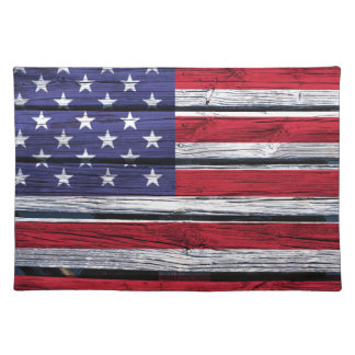 American Flag Rustic Wood Cloth Placemat