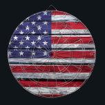 "American Flag Rustic Wood Dart Board<br><div class=""desc"">The American flag painted on rustic wood.</div>"