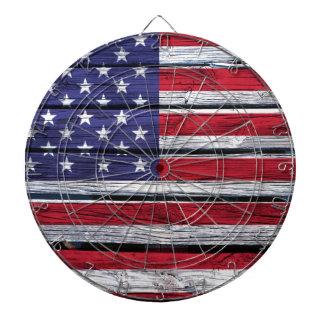 American Flag Rustic Wood Dartboard With Darts