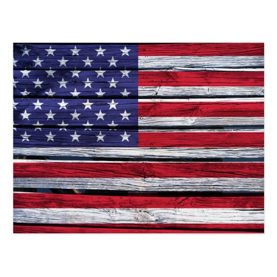 American Flag Rustic Wood Postcard