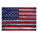 American Flag Rustic Wood Poster