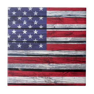 American Flag Rustic Wood Small Square Tile