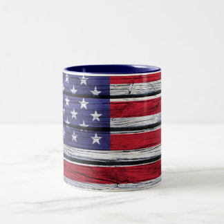 American Flag Rustic Wood Two-Tone Coffee Mug