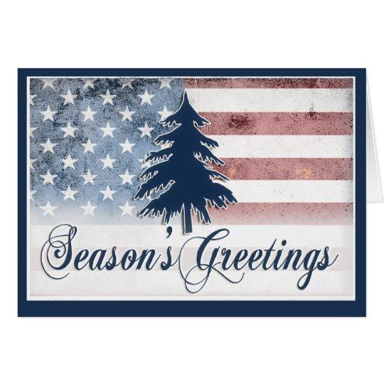 American Flag Season's Greetings Card