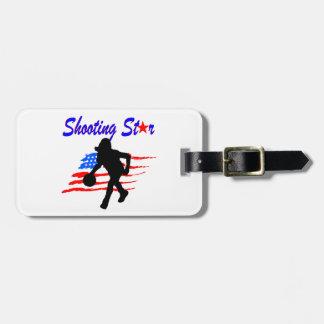 AMERICAN FLAG SHOOTING STAR BASKETBALL GIRL BAG TAG