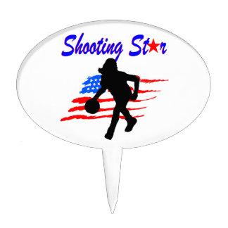 AMERICAN FLAG SHOOTING STAR BASKETBALL GIRL CAKE TOPPER