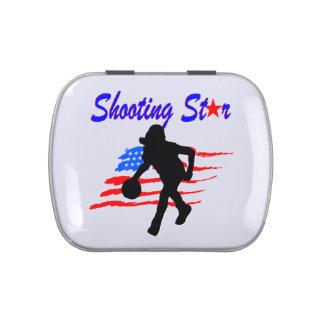 AMERICAN FLAG SHOOTING STAR BASKETBALL GIRL CANDY TIN