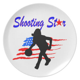 AMERICAN FLAG SHOOTING STAR BASKETBALL GIRL DINNER PLATE