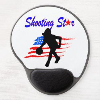 AMERICAN FLAG SHOOTING STAR BASKETBALL GIRL GEL MOUSE PAD