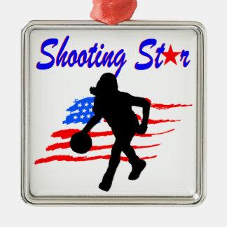 AMERICAN FLAG SHOOTING STAR BASKETBALL GIRL METAL ORNAMENT