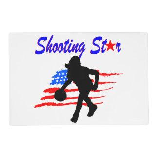 AMERICAN FLAG SHOOTING STAR BASKETBALL GIRL PLACEMAT