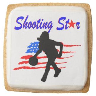 AMERICAN FLAG SHOOTING STAR BASKETBALL GIRL SQUARE SHORTBREAD COOKIE