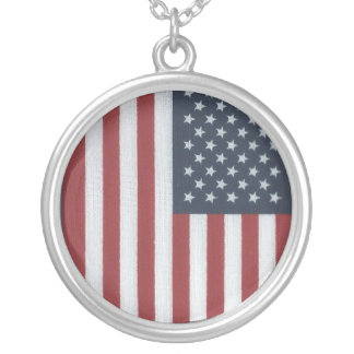American Flag Silver Plated Pendant Necklace