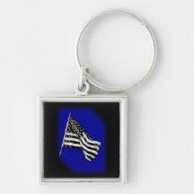 American Flag Sketch Blue Key Chain Key Chains